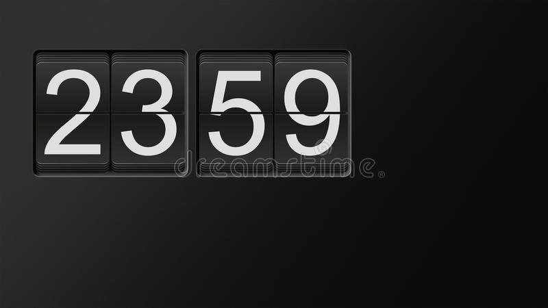 Classic flip clock watch face showing 23:59 with white numbers on black background. Classic flip clock watch face showing hour and minutes set to 23:59 with royalty free illustration
