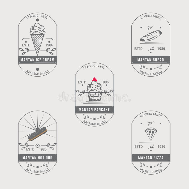 Classic Food Badge Logo Set. Street Food Badge Logo Template Stock ...