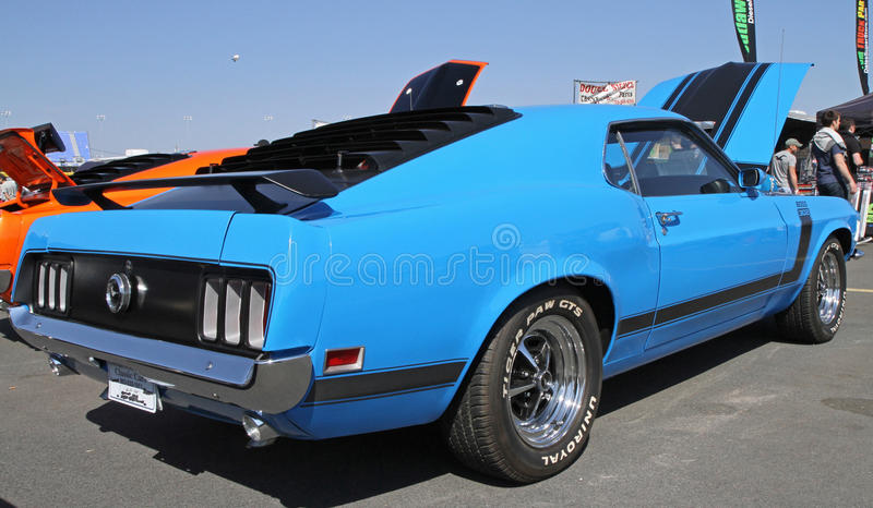 Classic Ford Mustang Automobile. A 1970 Ford Mustang Boss 302 automobile on display at the Food Lion Auto Fair classic car show at Charlotte Motor Speedway in royalty free stock image