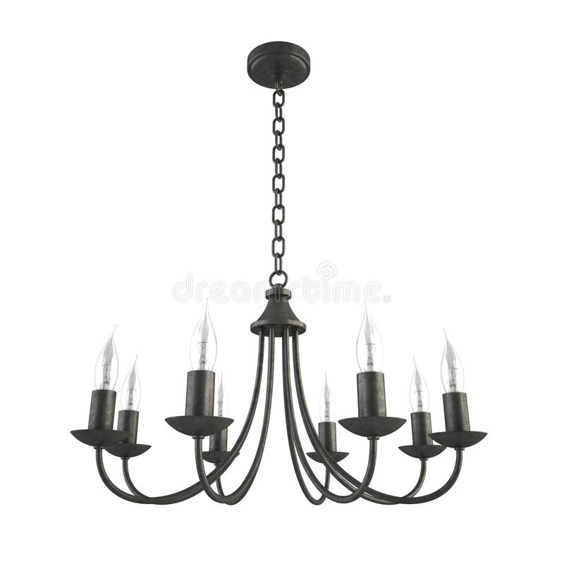 Forged Parts Black And White : Classic forged black chandelier isolated stock