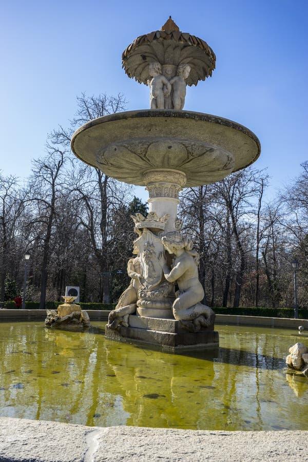 Classic fountain in the Retiro park , Madrid Spain royalty free stock photo