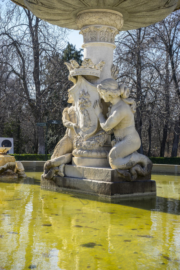Classic fountain in the Retiro park , Madrid Spain stock images