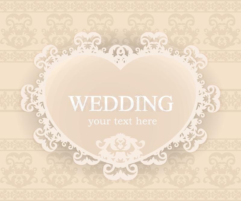 Classic frame. Vintage background. Elegant design element template with place for your text. Lace decoration for birthday greeting card, wedding invitation stock illustration