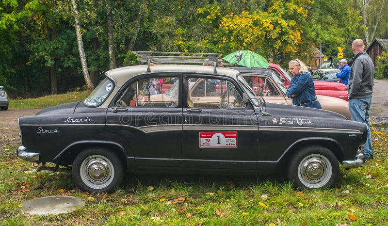 Classic French car Simca Aronde in black&white stock image