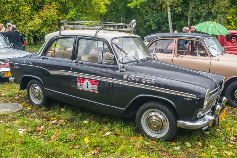 Classic French car Simca Aronde in black&white royalty free stock photos