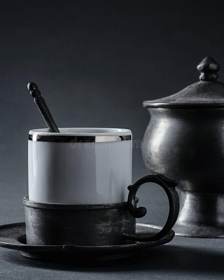 Classic French Ceramic Espresso Cup stock photos