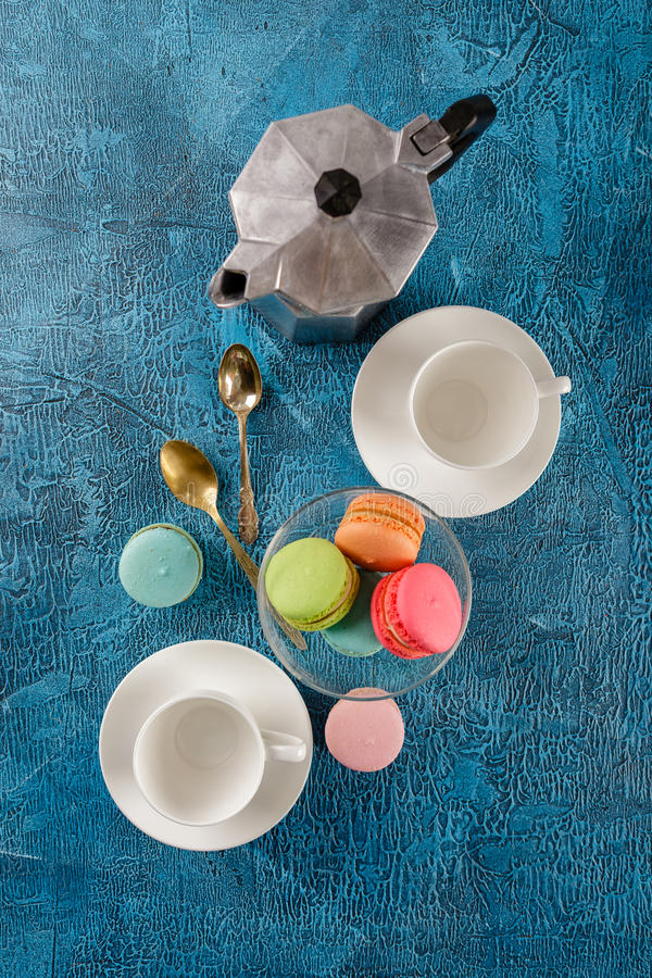 Different types of macaroons royalty free stock photography