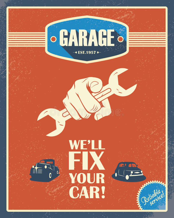Classic garage poster. Vintage cars. Retro style royalty free illustration