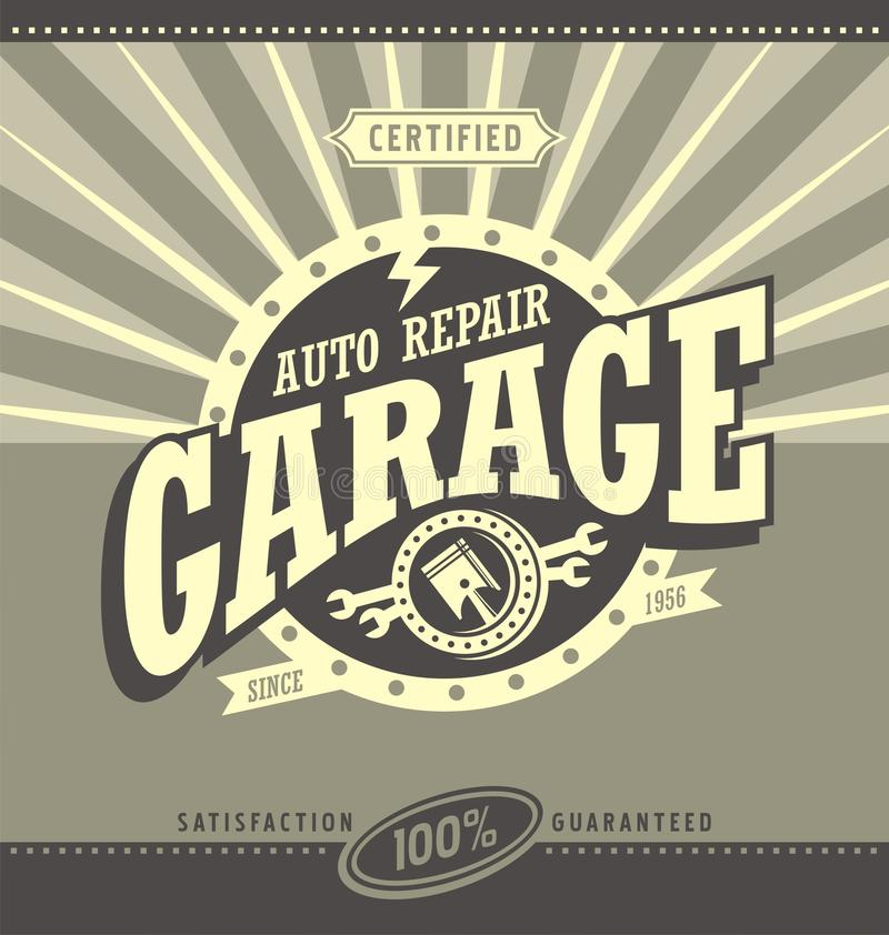 Classic garage retro banner design concept royalty free illustration