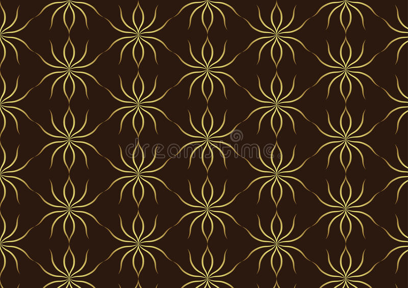 Classic Gold Ant Pattern on Brown Background. Gold ant line art pattern on dark brown background. Retro luxurious pattern style for classic or retro design stock illustration