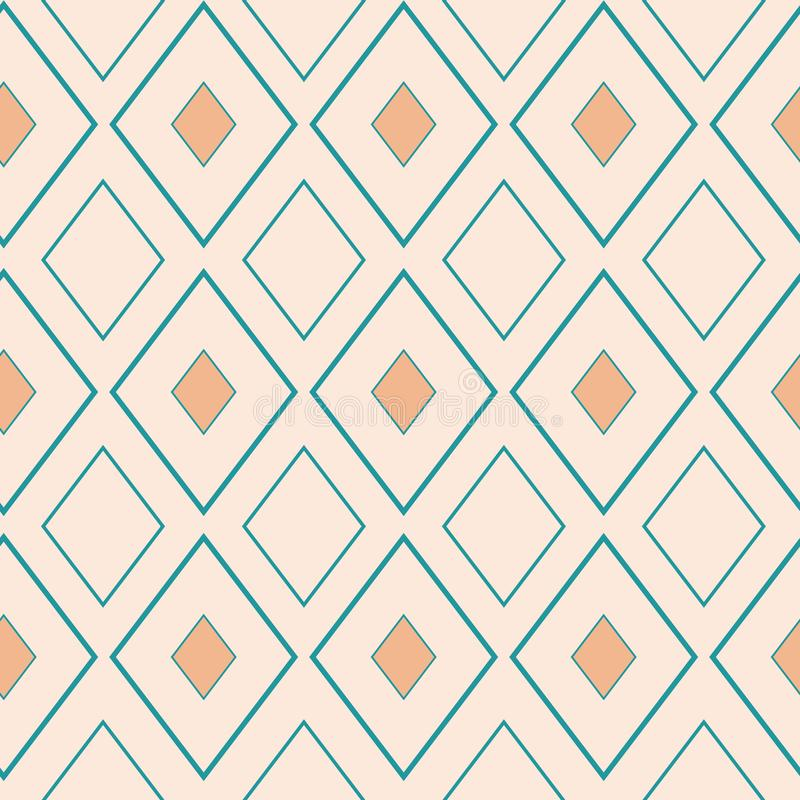 Classic gold and light blue rhombus geometric design. Seamless vector pattern on neutral cream background. Great for royalty free illustration