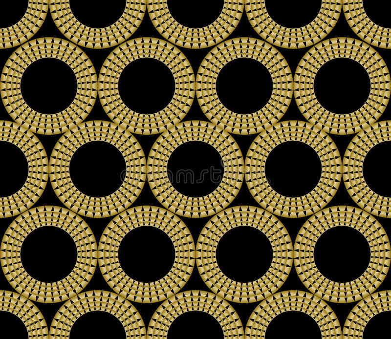 Classic gold patterns with 3d effect on black background, seamless ornament in damask style, golden circle shape on stock illustration