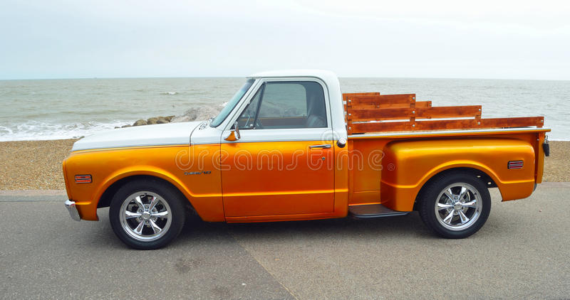 Classic Gold and white pickup truck stock images