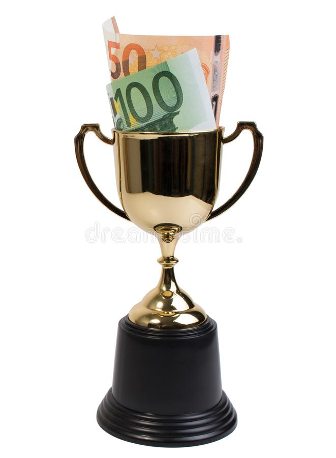 Classic golden trophy or golden cup with euro banknote isolated on white background. Close up of golden plastic trophy cup and euro banknote for reward stock image