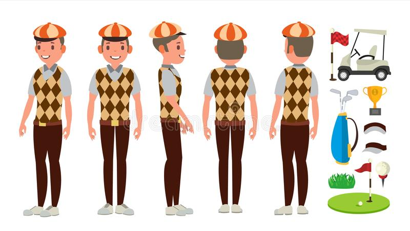 Golf Player Vector. Playing Golfer Male. Different Poses. Isolated Flat Cartoon Character Illustration. Classic Golf Player Vector. Swing Shot On Course royalty free illustration