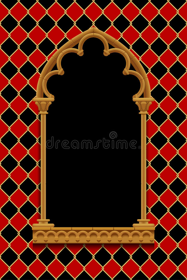 Classic gothic decorative frame on red and black rhomboids background with gold wire grid stock illustration
