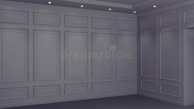 Classic Gray interior with copy space. Red walls with classical decor. Floor parquet herringbone. 3d rendering. Classic Gray interior with copy space. Red walls stock illustration