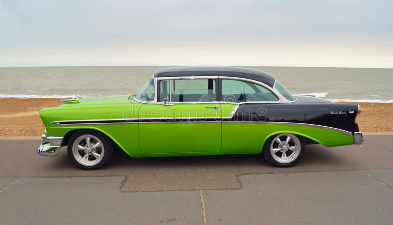Classic Green and Black Chevrolet Belair royalty free stock images