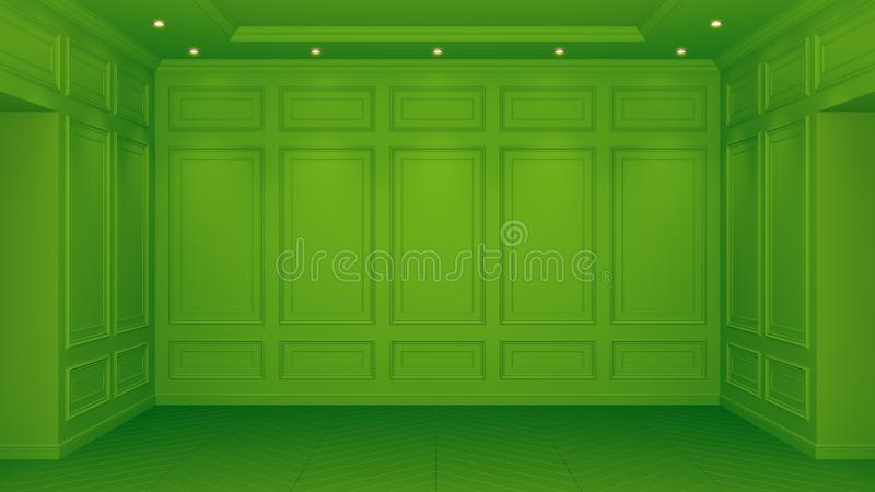 Classic green interior with copy space. Red walls with classical decor. Floor parquet herringbone. 3d rendering vector illustration