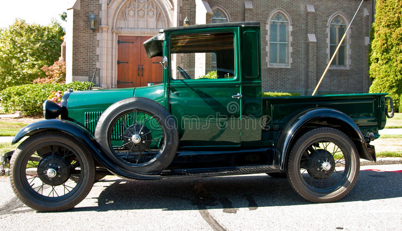 Download Classic Green Pickup Truck By Church Stock Image - Image: 14024729
