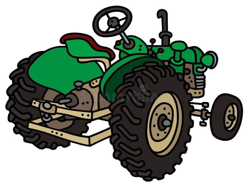 Classic green tractor vector illustration