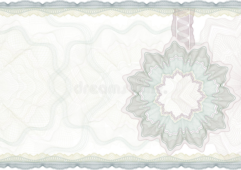Classic guilloche border for certificate. stock illustration