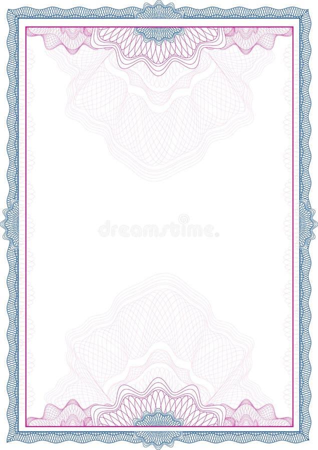 Classic guilloche border / diploma / certificate stock illustration