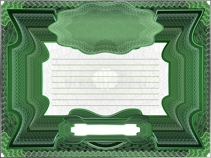 Classic guilloche border for diploma or certificate. Layers are separated stock illustration