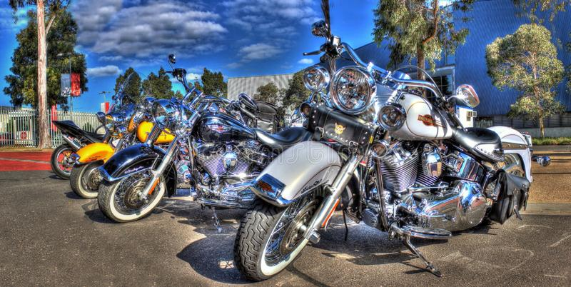 Classic Harley Davidson motorcycle. Classic American made white Harley Davidson motorcycle on display at the 2016 Meguiar's Motorex held in Melbourne, Australia royalty free stock photos