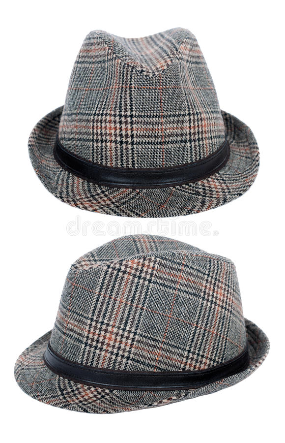 Classic hat for man. Isolated on white stock images