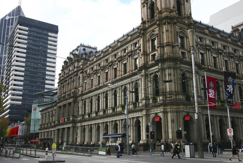 Classic and historic stone exterior of former General Post Office in Melbourne CBD, Victoria, Australia. Decorative and elegant outside facade of heritage and royalty free stock photo