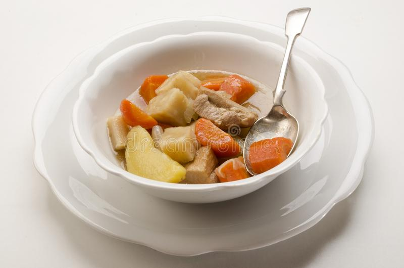 Delicious home made irish stew in a white bowl stock photos