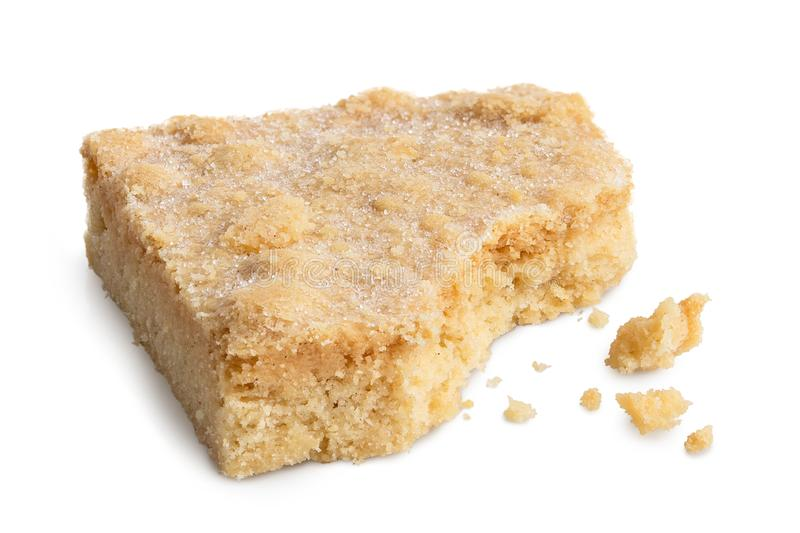 Classic homemade square shortbread biscuit isolated on white. Pa royalty free stock image