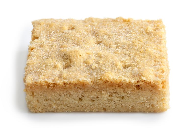 Classic homemade square shortbread biscuit isolated on white. royalty free stock images