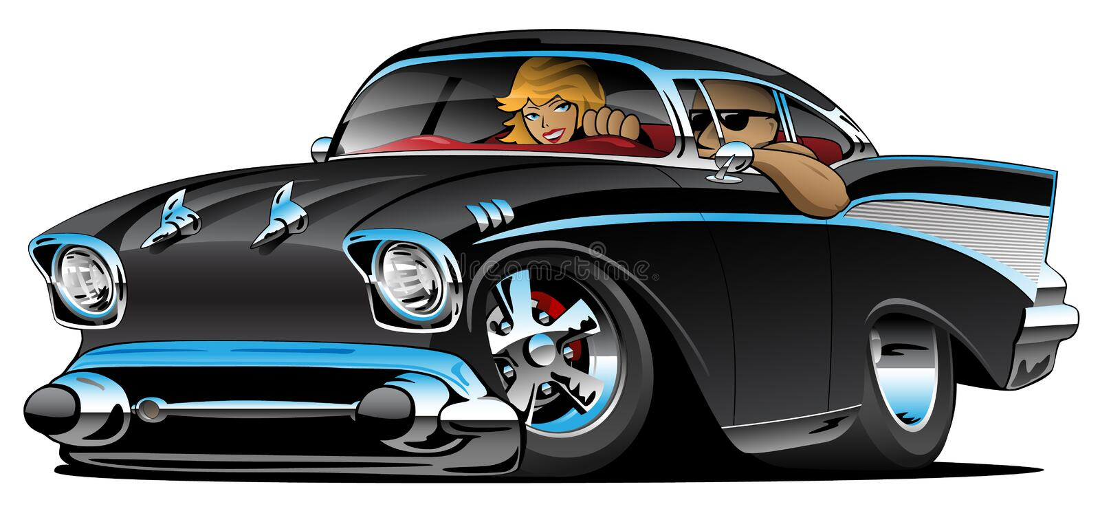 Classic hot rod fifties muscle car with a cool couple vector illustration. Awesome old school 1957 style street rod with a cool guy and hot blonde female by his royalty free illustration
