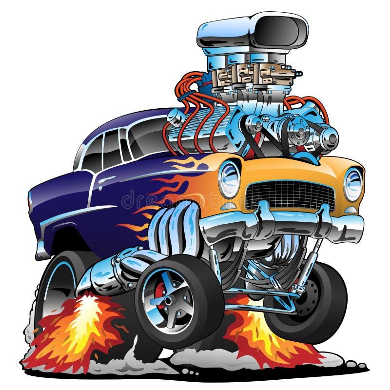 Classic hot rod muscle car, flames, big engine, cartoon vector illustration royalty free illustration