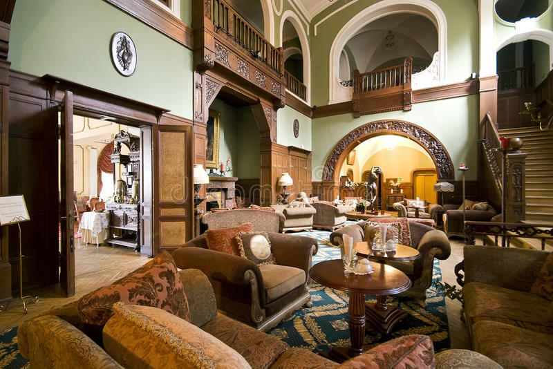Classic hotel lobby. A classic hotel lobby, spacious room, vintage furniture