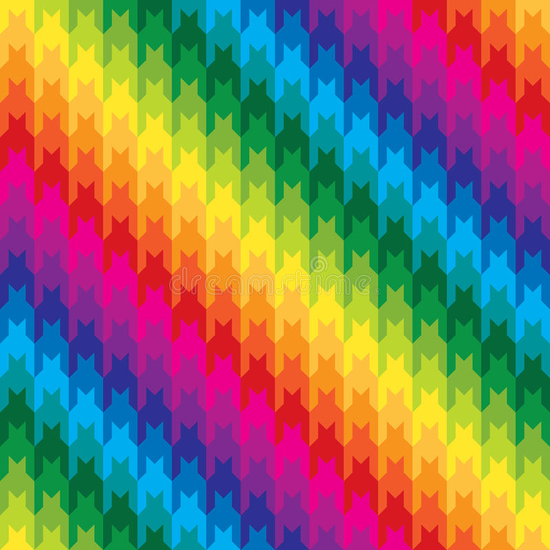 Classic Hounds Tooth Pattern in Rainbow Colors stock illustration