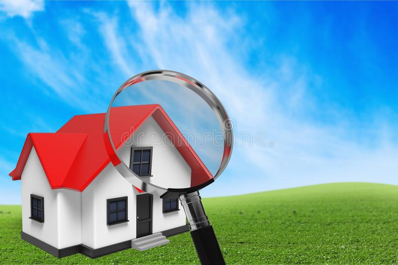 Classic house model with magnify glass on. Sale model classic house background object design royalty free stock image