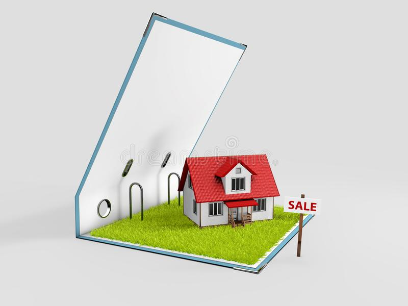 Classic house model on sale on backgrouund.  stock photos