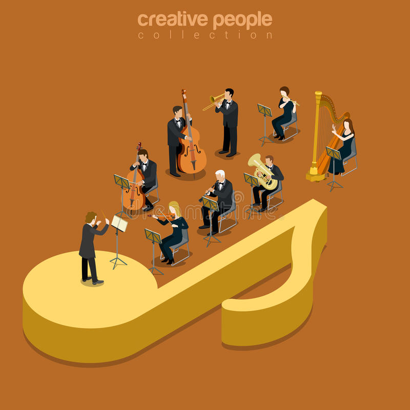 Classic instrumental orchestra concert flat isometric vector 3d stock illustration