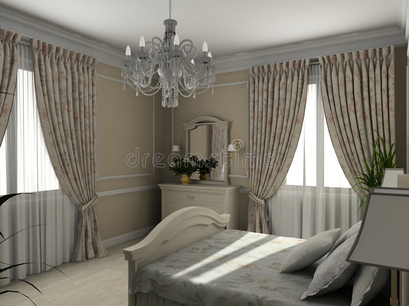Classic interior. 3D render stock photos