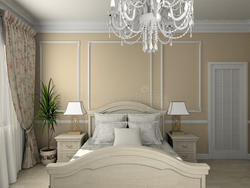 Classic interior. 3D render stock photography
