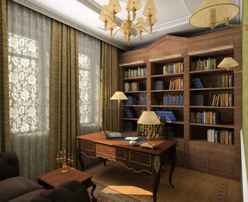 Classic interior. 3D render royalty free stock images