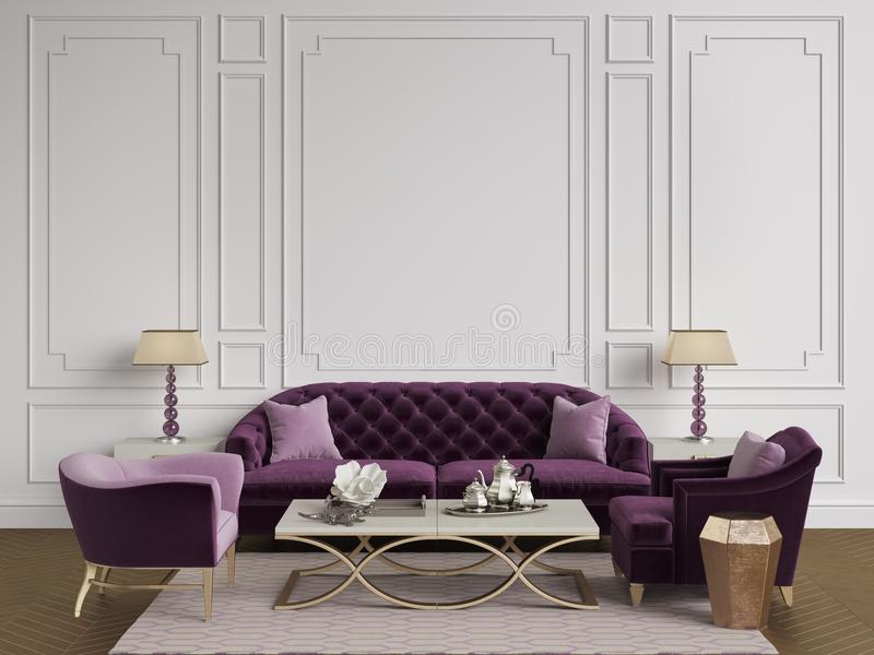 Classic interior in beige and pink colors.Sofa,chairs,sidetables. With lamps,table with decor.White color walls with mouldings. Floor parquet herringbone,rug royalty free illustration