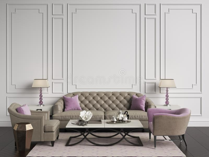 Classic interior in beige and pink colors.Sofa,chairs,sidetables. With lamps,table with decor.White color walls with mouldings. Floor parquet herringbone,rug stock illustration