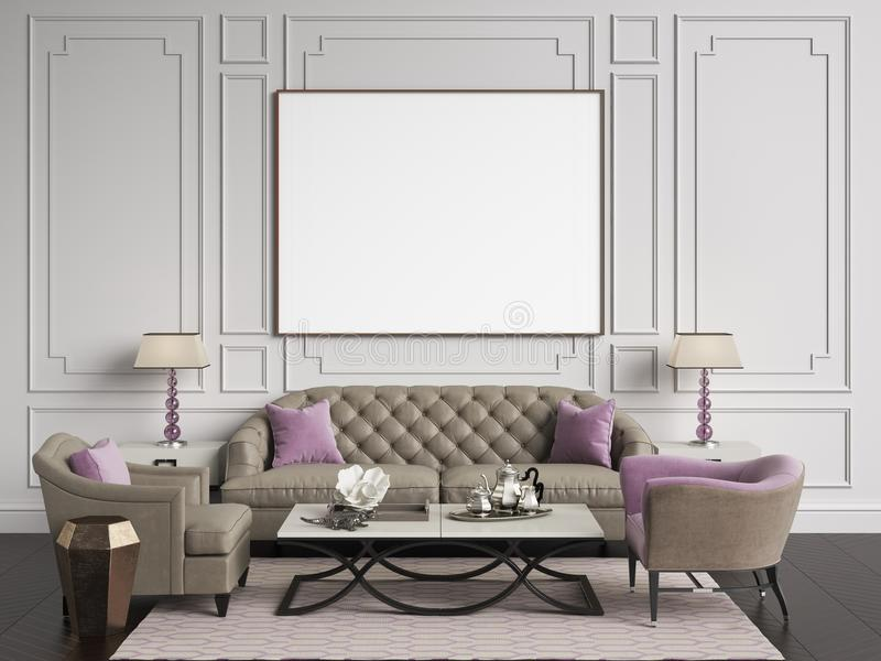 Classic interior in beige and pink colors.Sofa,chairs,sidetables with lamps,table with decor.White color walls with. Mouldings,frame with blank list on the wall stock illustration