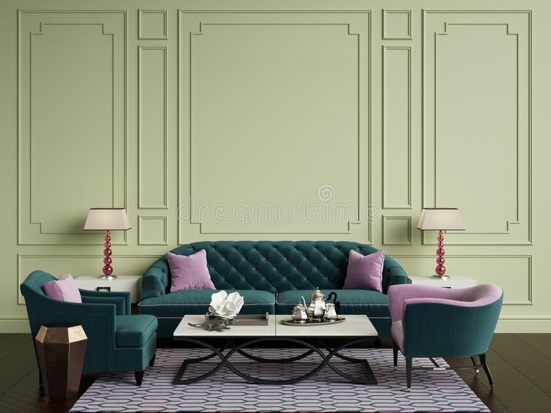 Classic interior in green and pink colors.Sofa,chairs,sidetables with lamps,table with decor.Olive color walls with mouldings. L. Floor parquet herringbone,rug stock illustration