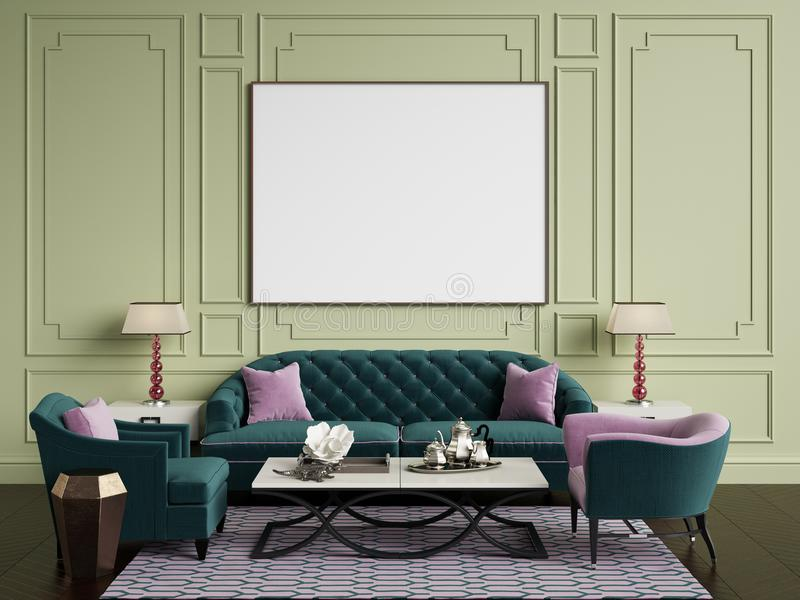 Classic interior in green and pink colors.Sofa,chairs,sidetables with lamps,table with decor.Olive color walls with. Mouldings,frame with blank list on the wall vector illustration