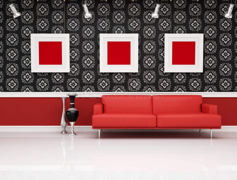 Classic interior with modern red couch royalty free illustration